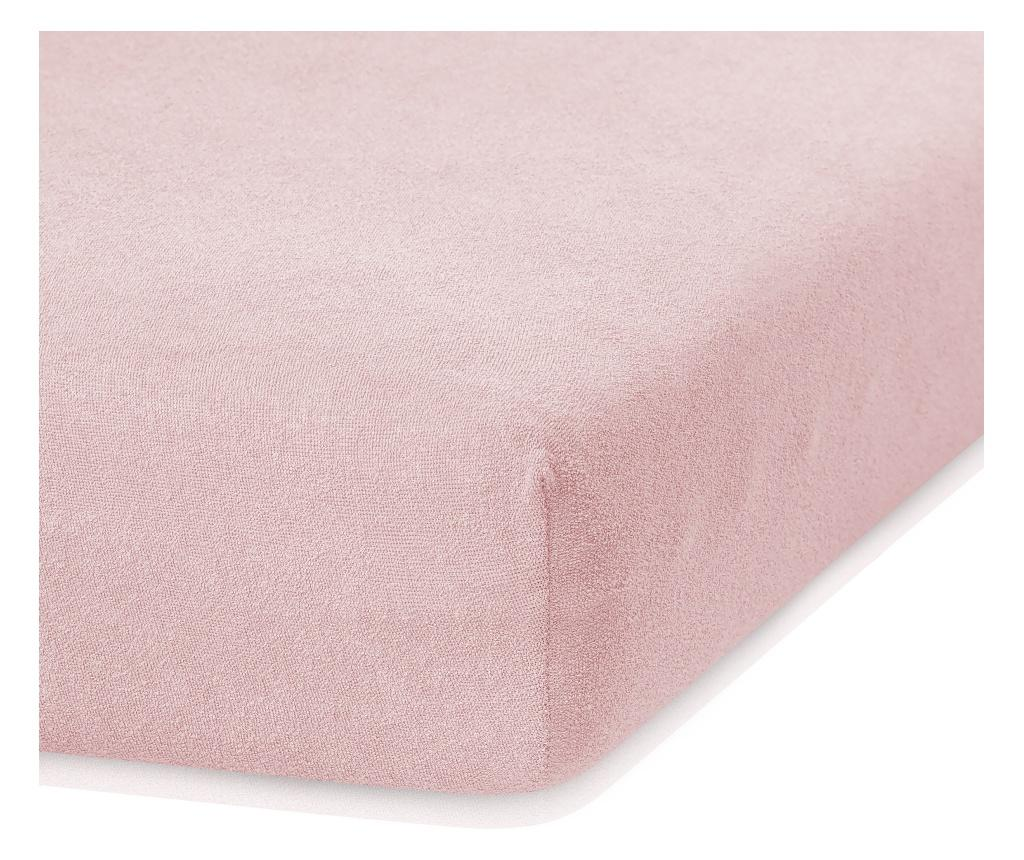 Cearsaf de pat cu elastic Ruby Peach 160x200 cm - AmeliaHome, Portocaliu imagine vivre.ro