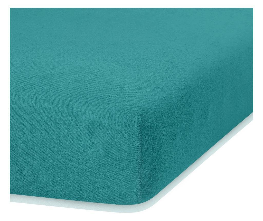 Cearsaf de pat cu elastic Ruby Turquoise 80x200 cm - AmeliaHome, Verde poza