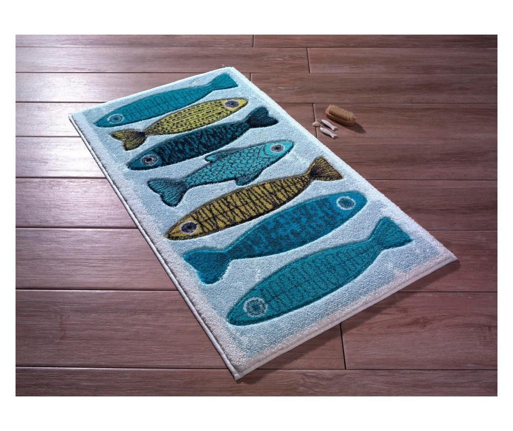 Covoras de baie Fishy WhiteBlueDark BlueTurquoiseYellow 57x100 cm imagine