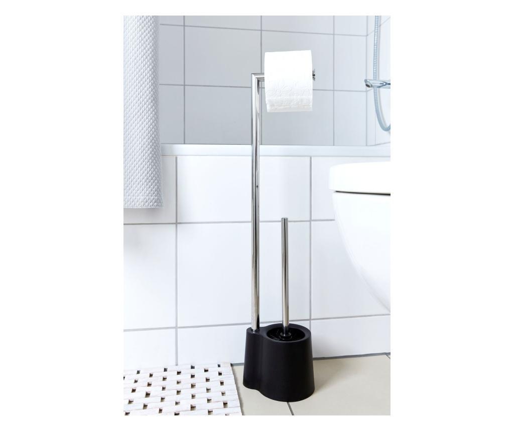 Suport pentru hartie igienica cu perie de toaleta - Wenko, Multicolor imagine