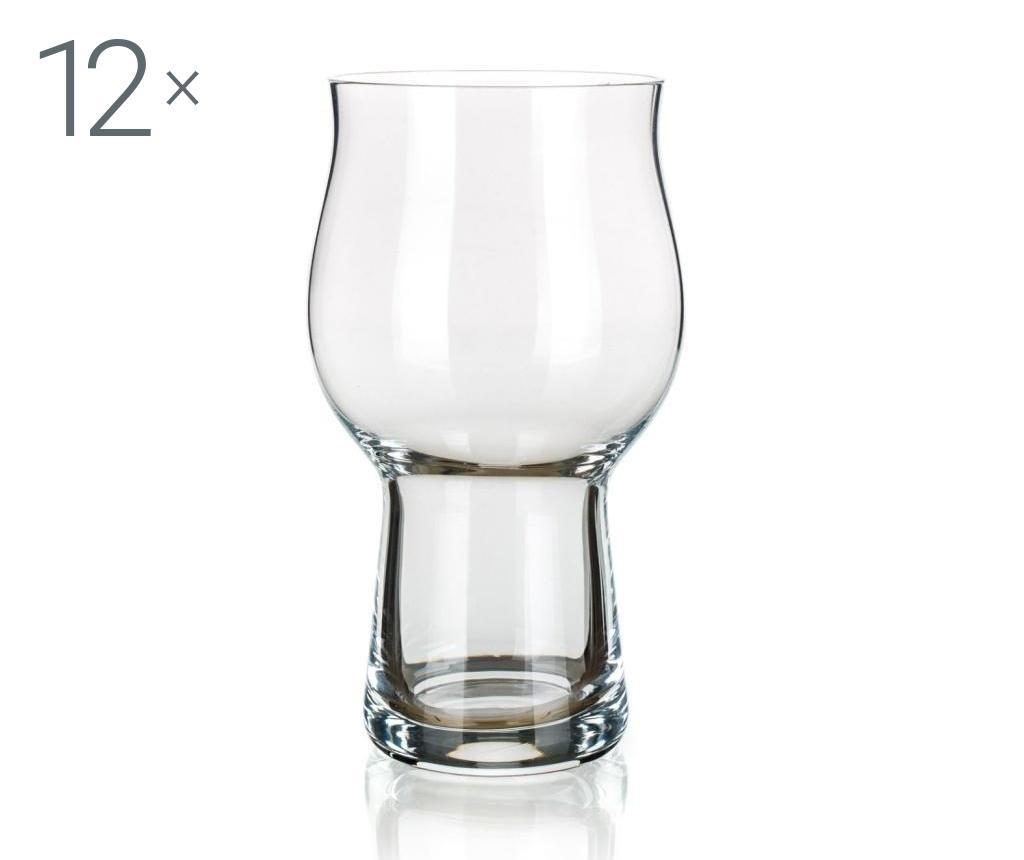 Set 12 pahare pentru bere 520 ml - Banquet Crystal, Alb poza
