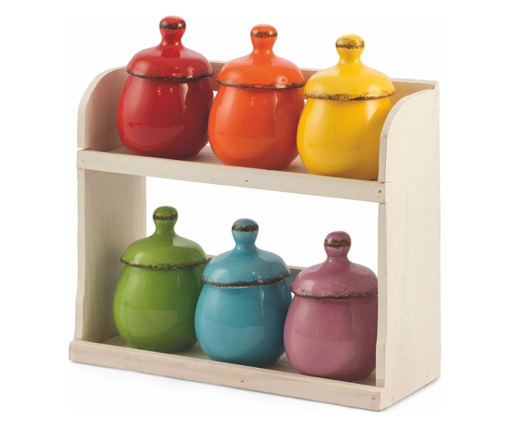 Set 6 recipiente cu suport Baita Multicolor imagine