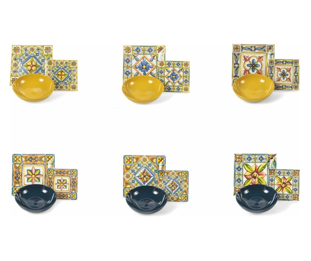 Set de masa 18 piese Costiera Dinner Multicolor - Villa D'Este Home Tivoli, Multicolor imagine