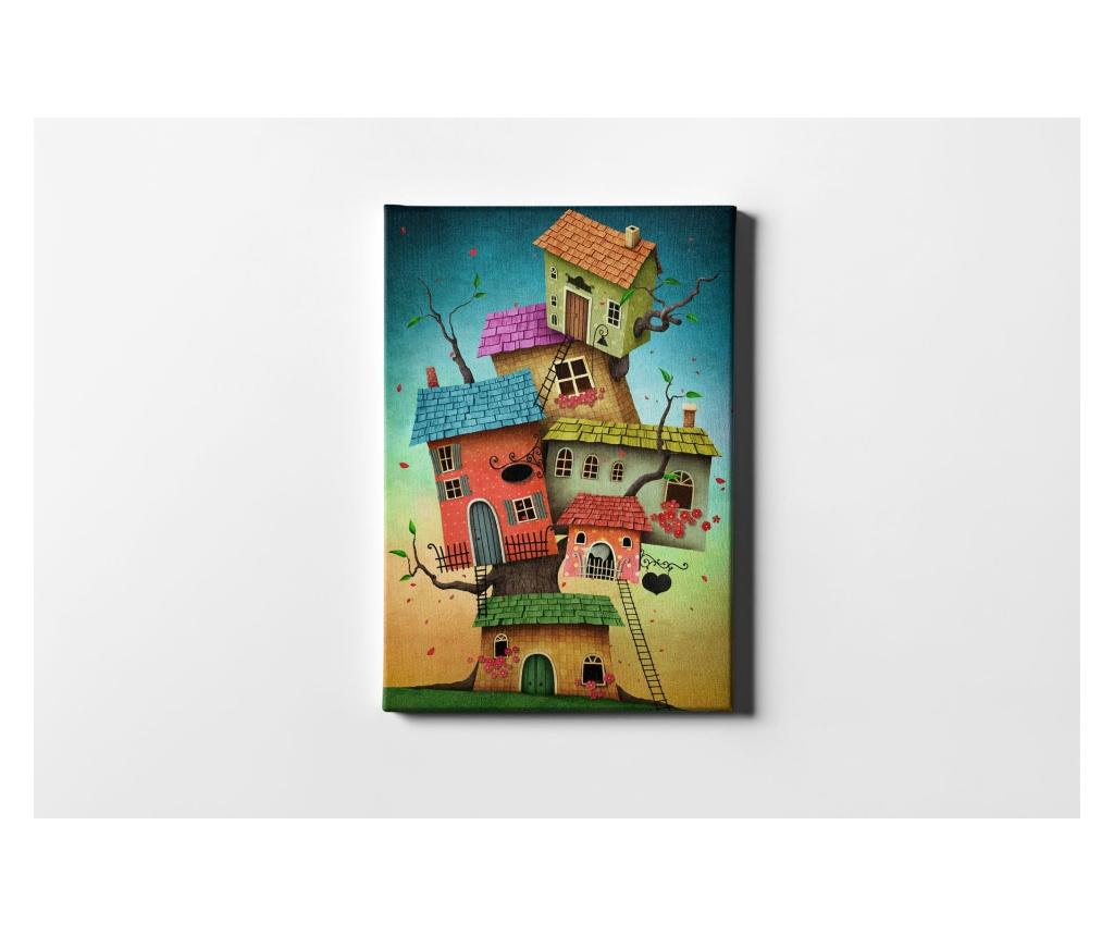 Tablou Colorful Houses 50x70 cm - CASBERG, Multicolor imagine