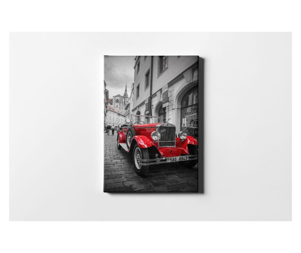 Tablou Red Old Car 50x70 cm - CASBERG, Multicolor imagine