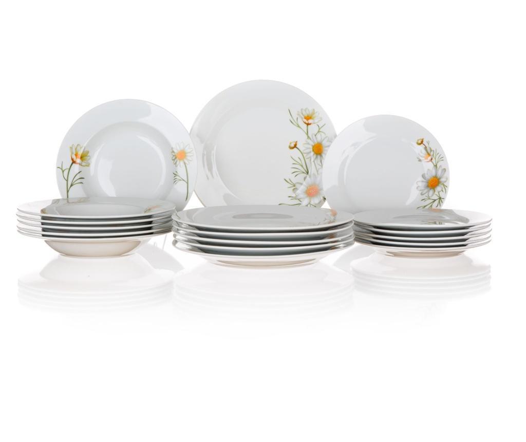 Set de masa 18 piese Daisy - Banquet, Alb vivre.ro