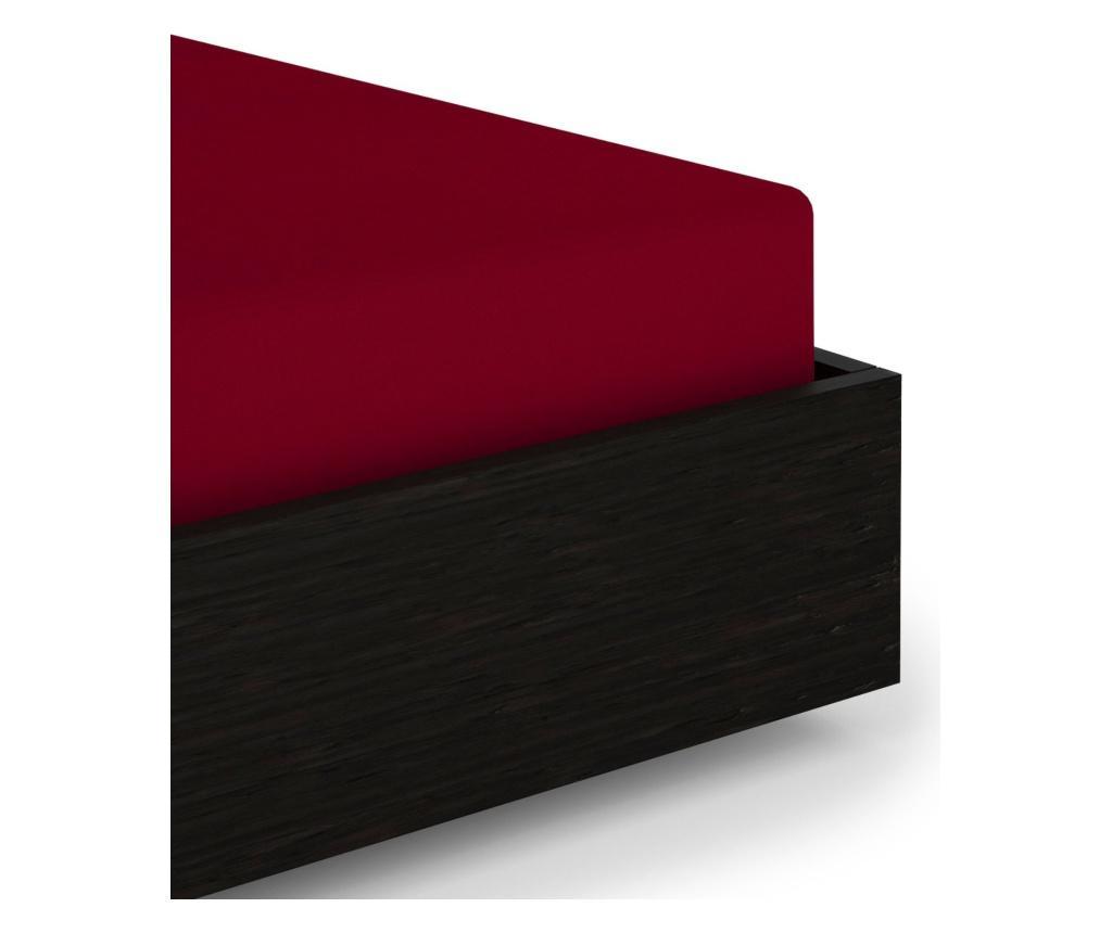 Cearsaf de pat cu elastic Perkal Red 80x200+35 cm - Heckett & Lane imagine vivre.ro