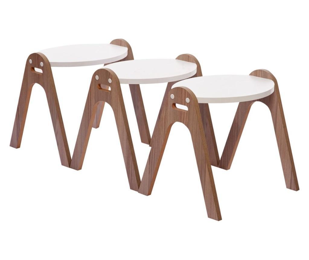 Set 3 masute de cafea - Gauge Concept, Alb,Maro poza noua