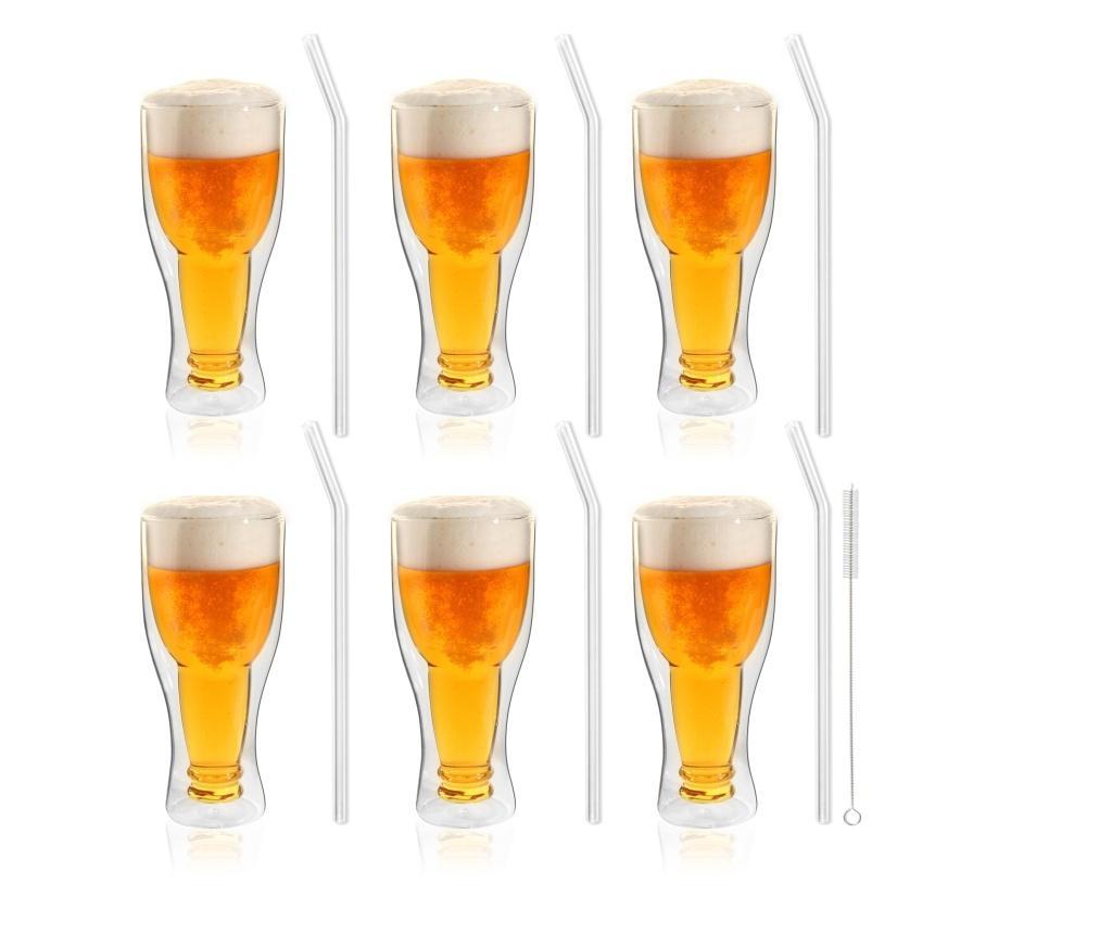 Set 6 pahare pentru bere si 6 paie