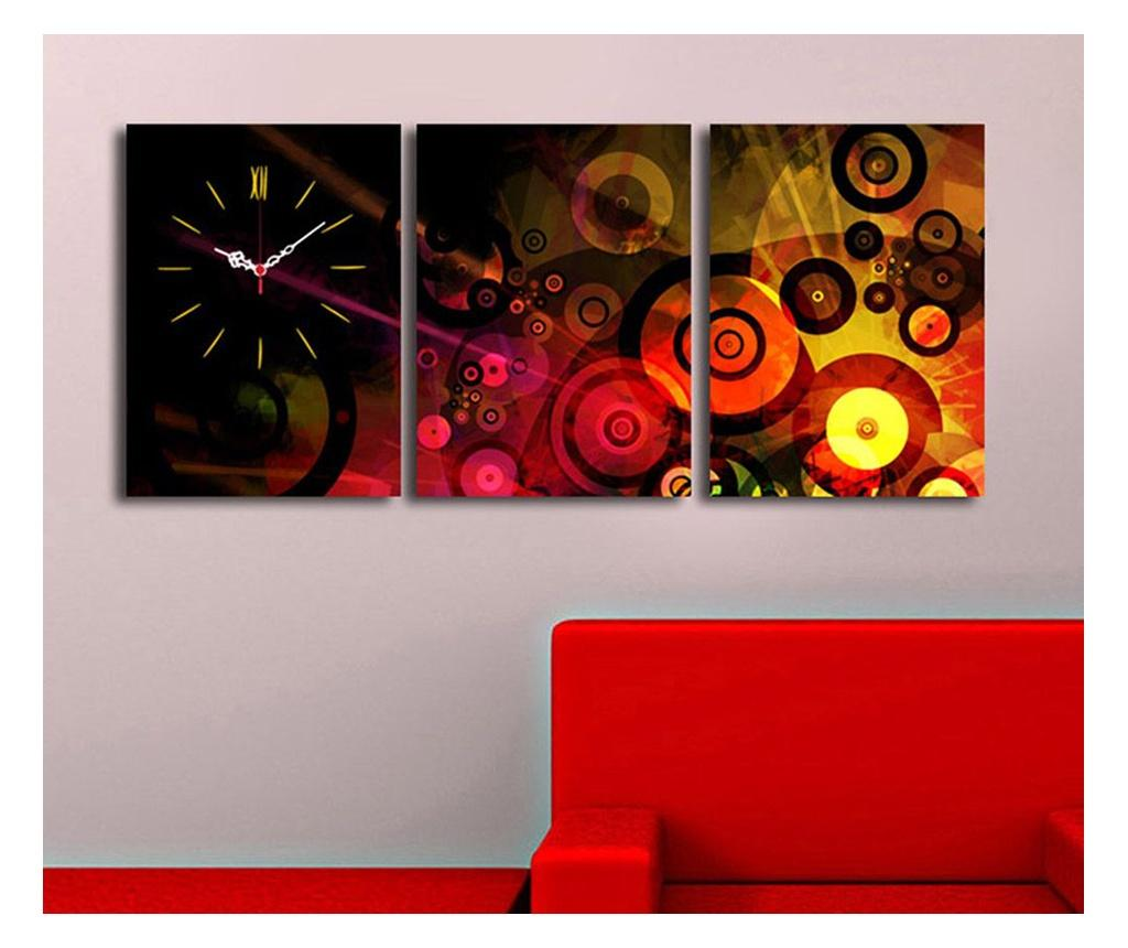 Set 3 tablouri si ceas de perete - Clock Art, Multicolor imagine