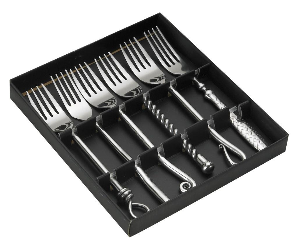 Set 6 furculite de masa - Jean Dubost, Gri & Argintiu