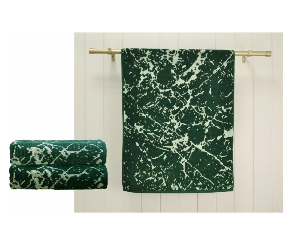 Set 2 prosoape de baie Marble Green 48x90 cm imagine
