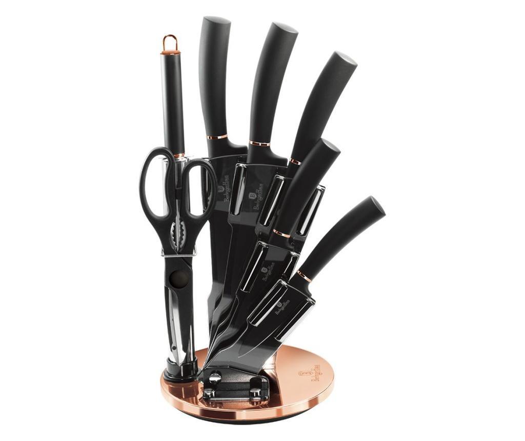 Set 7 cutite si suport Black Rose - Berlinger Haus, Negru imagine