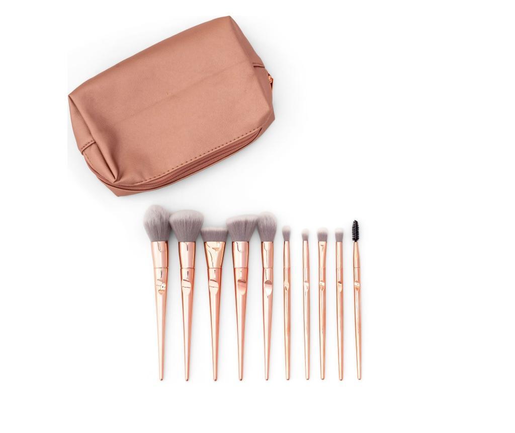 Set 9 pensule pentru machiaj si geanta pentru cosmetice