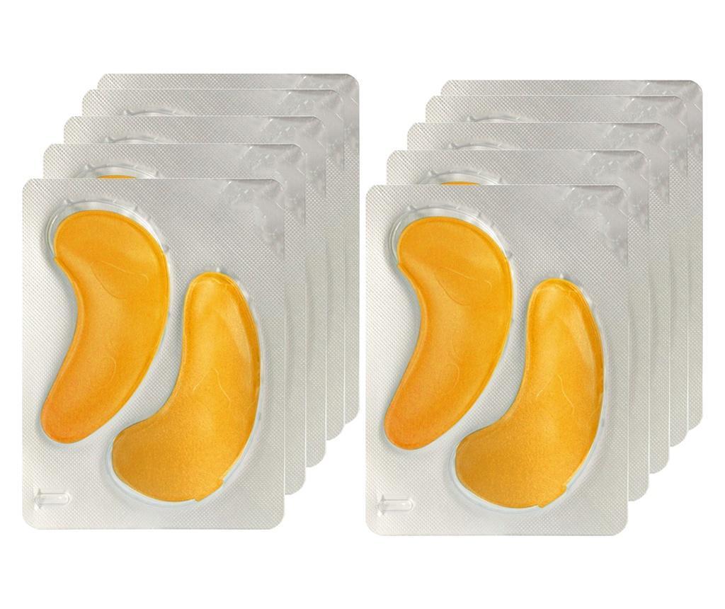 Set 10 plasturi cu colagen de tonifiere pentru zona ochilor 24K Gold