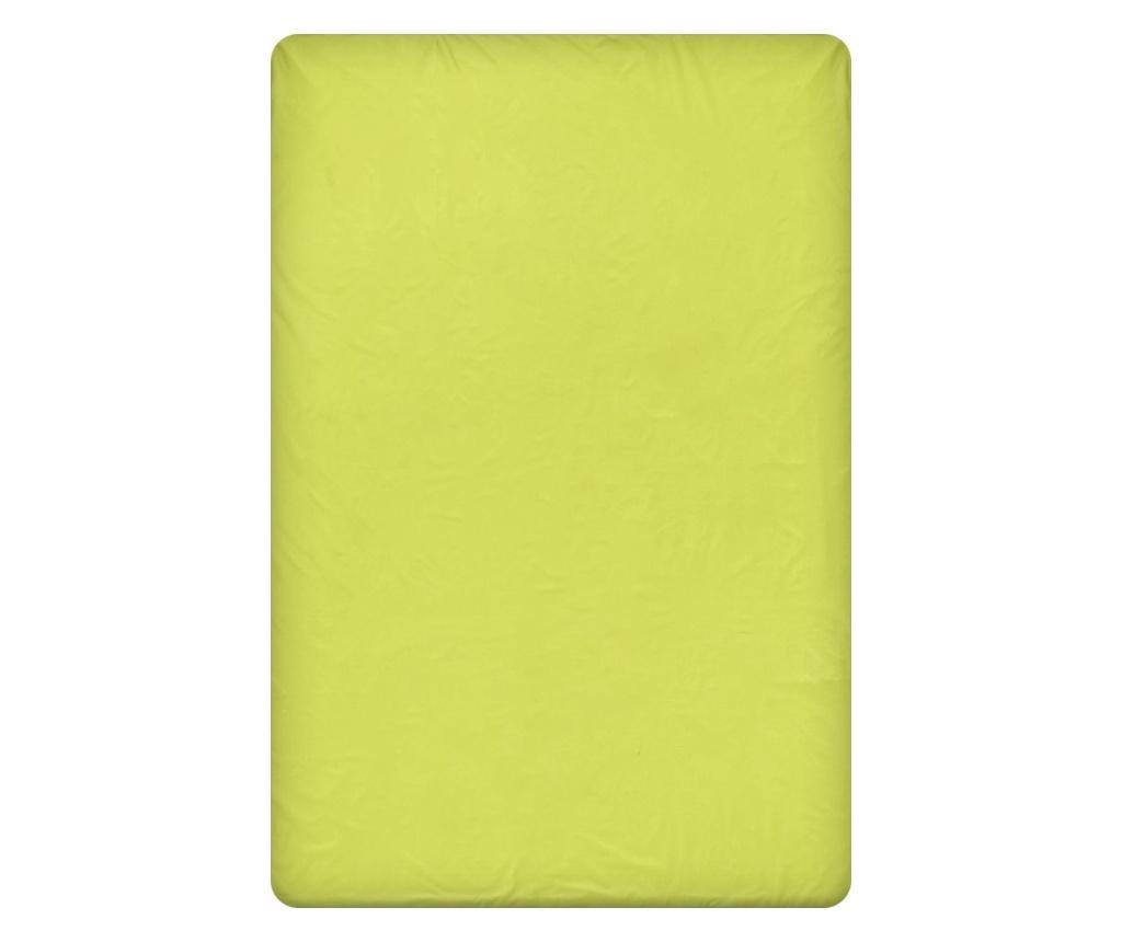 Cearsaf de pat cu elastic Lime 160x200 cm - Dilios, Verde vivre.ro