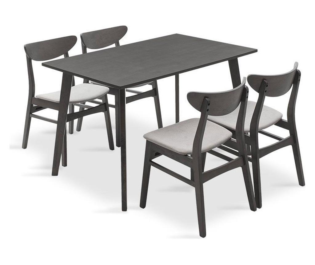 Set masa si 4 scaune Benson Adolf Grey - PAKOWORLD, Gri & Argintiu imagine