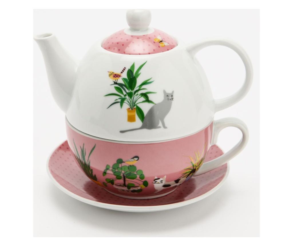 Set ceainic cu ceasca si farfurioara Country imagine