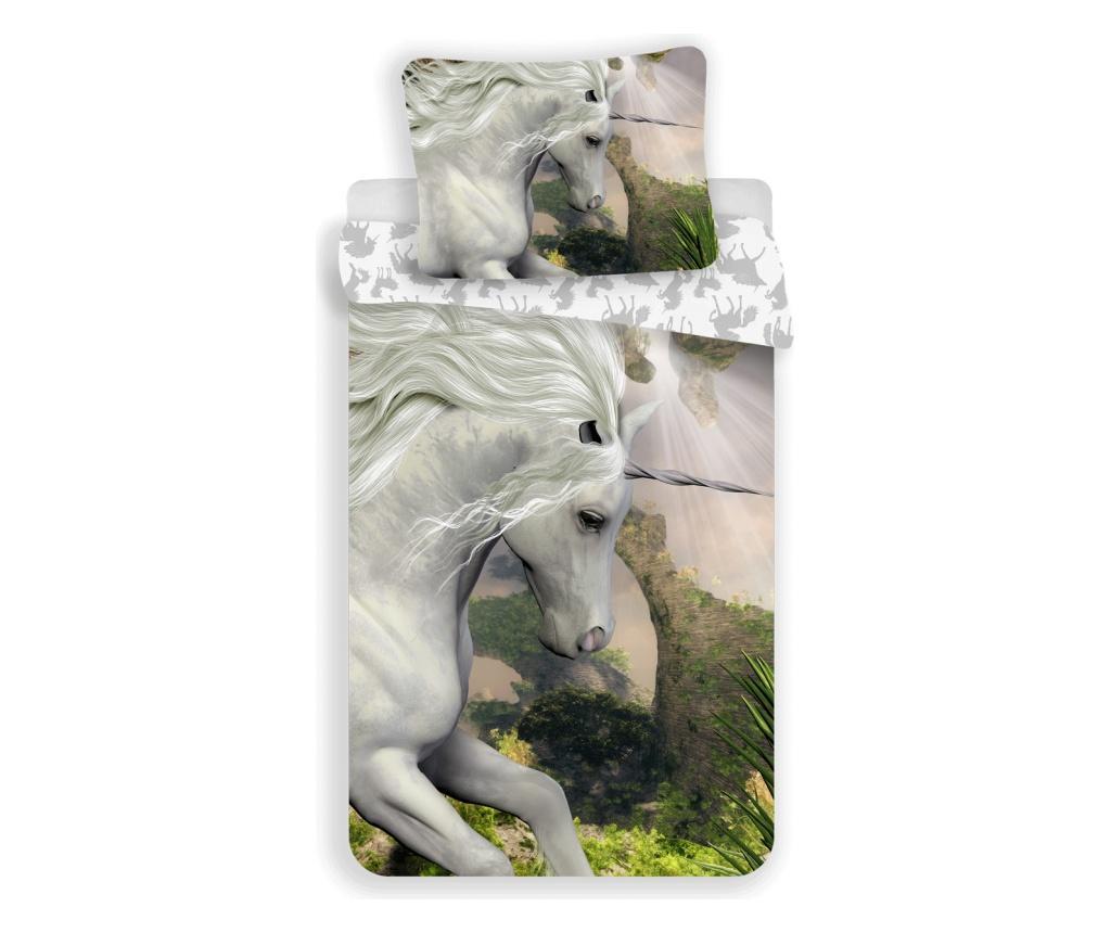 Set de pat Single Ranforce Unicorn White - Sweet home, Multicolor imagine