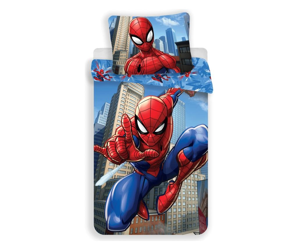 Set de pat Single Ranforce Spiderman Blue - Spider-Man by Marvel, Multicolor