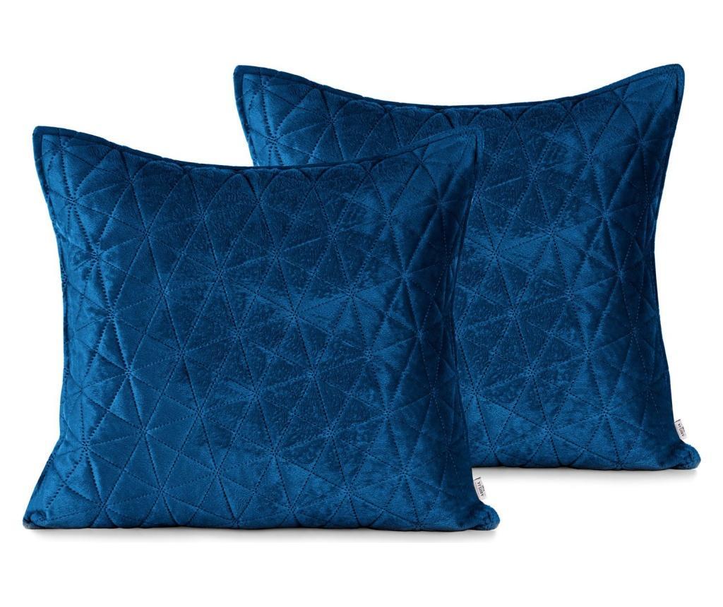 Set 2 fete de perna decorative 45x45 cm - AmeliaHome, Albastru poza