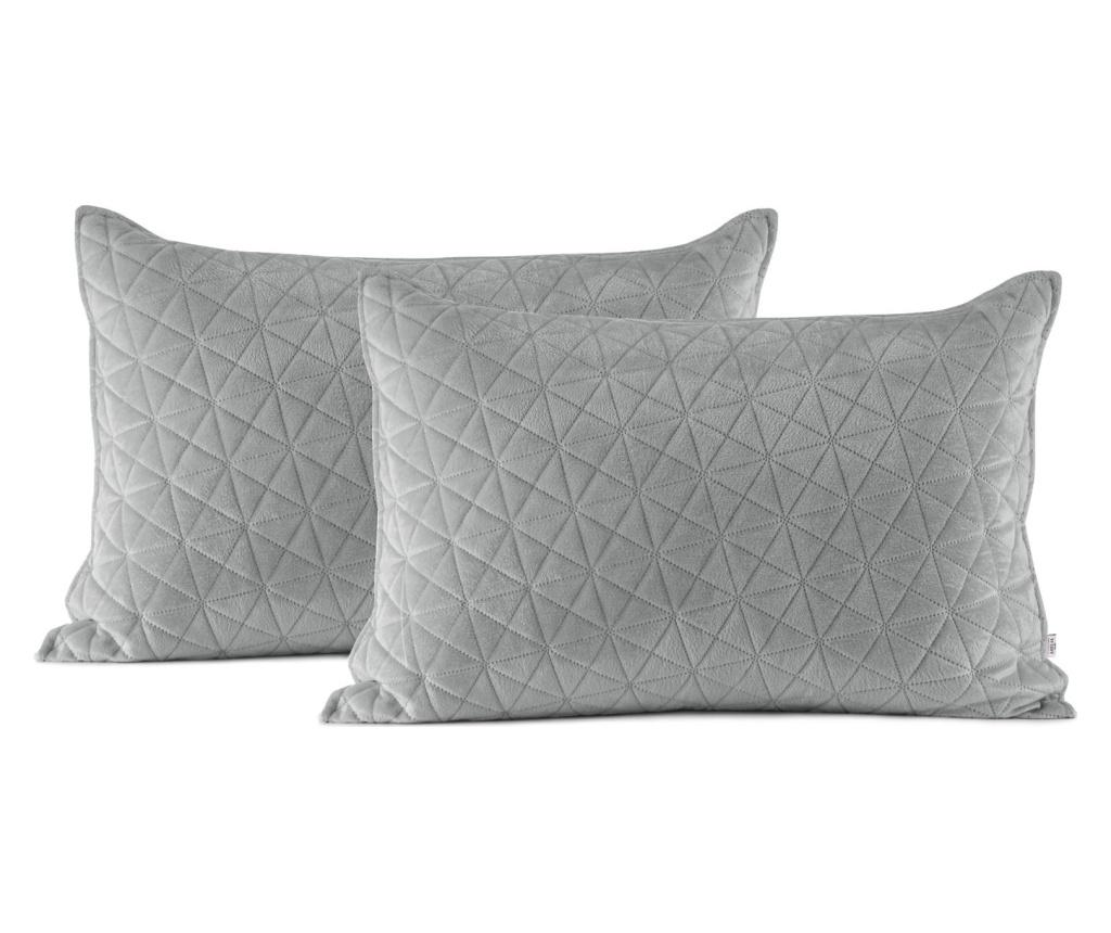 Set 2 fete de perna decorative 50x70 cm - AmeliaHome, Gri & Argintiu poza
