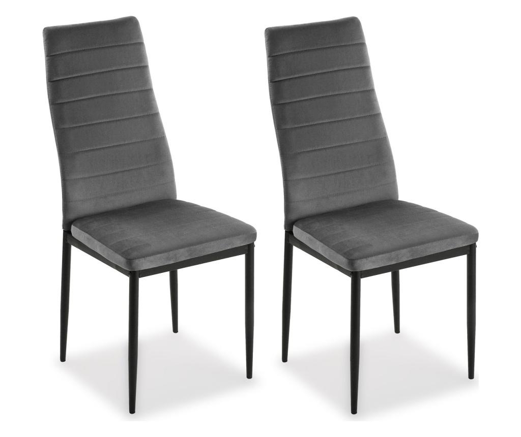 Set 2 scaune Valentina - Versa, Gri & Argintiu