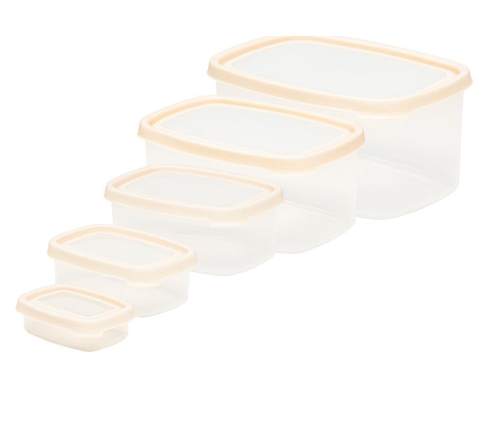 Set 5 caserole Seal It Rectangular Cream - Wham, Crem poza