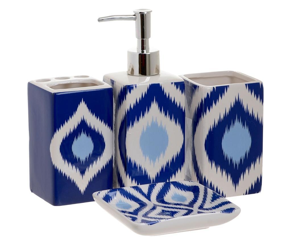 Set de baie 4 piese - inart, Albastru imagine