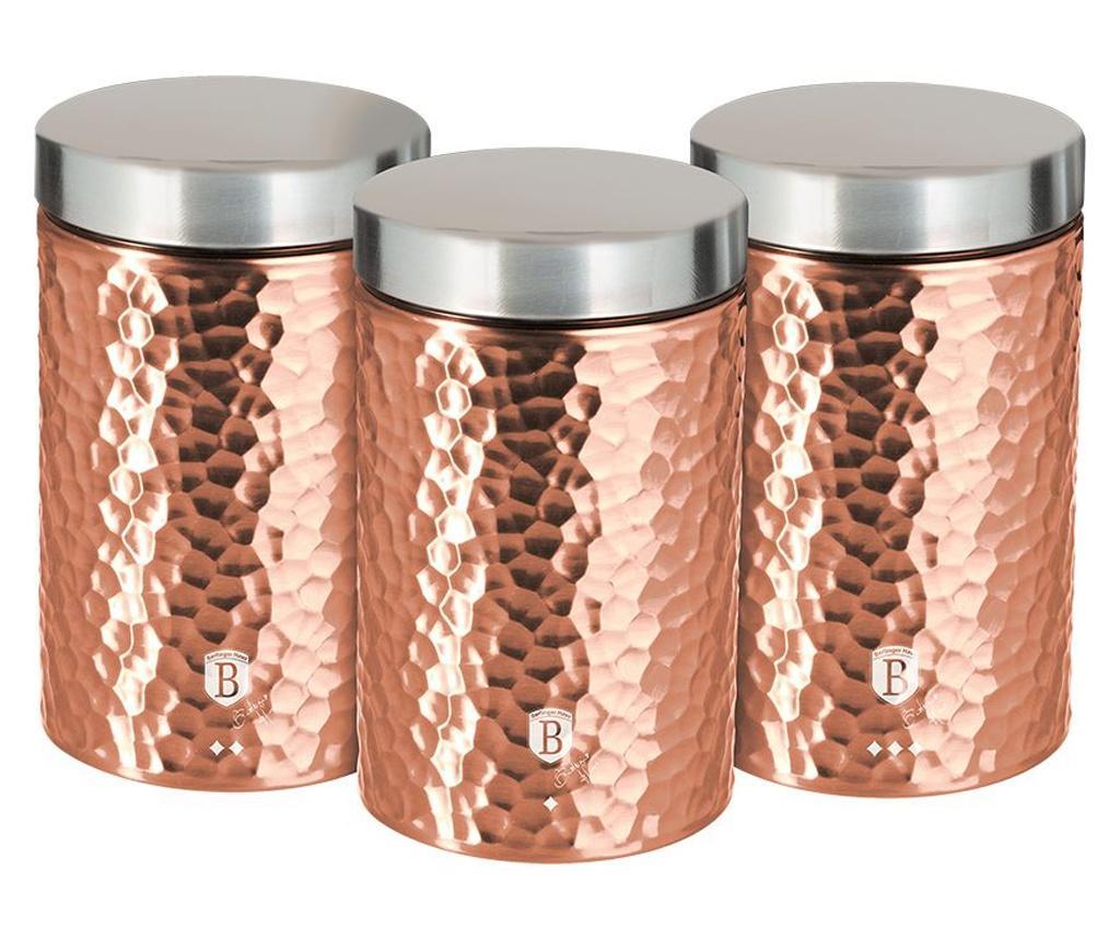 Set 3 recipiente cu capac Metallic Line- Rose Gold imagine