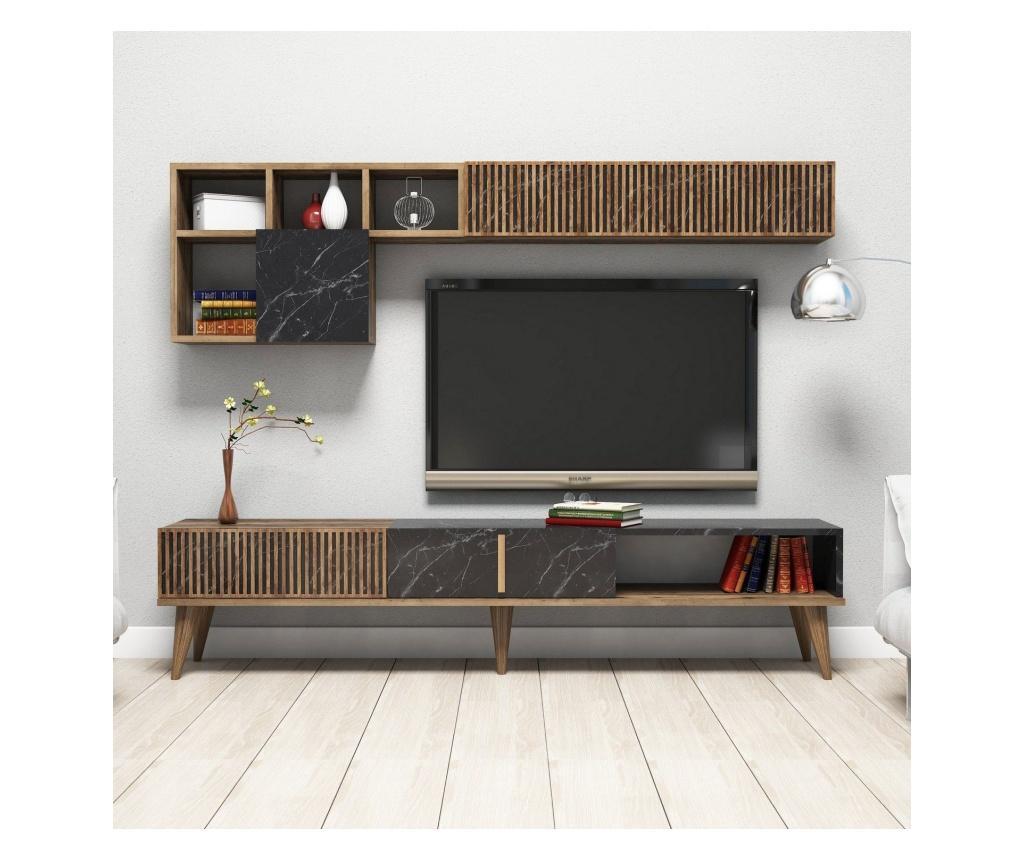 Set comoda TV si raft de perete - Hommy Craft, Maro imagine