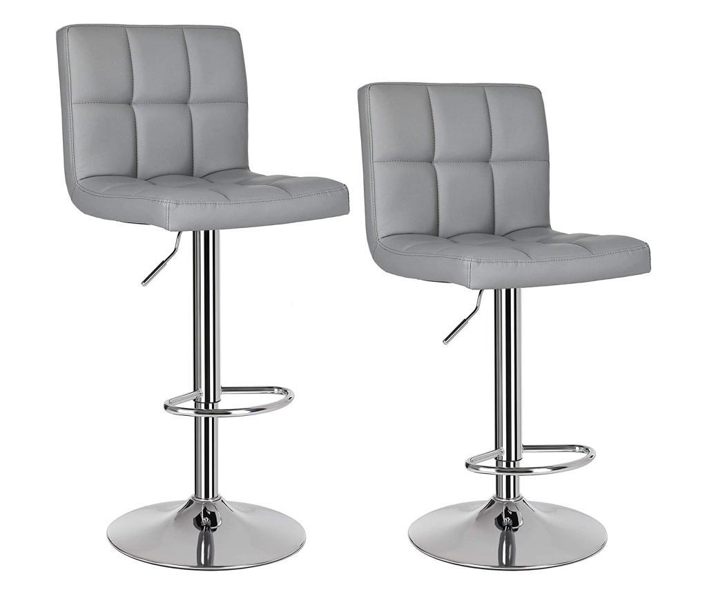 Set 2 scaune de bar - SONGMICS, Gri & Argintiu imagine