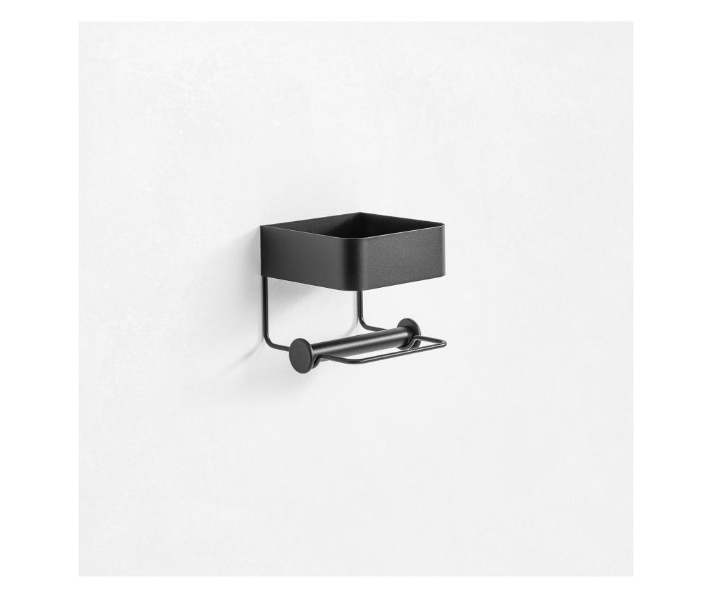 Suport pentru hartie igienica cu raft Shima - TFT Home Furniture, Negru