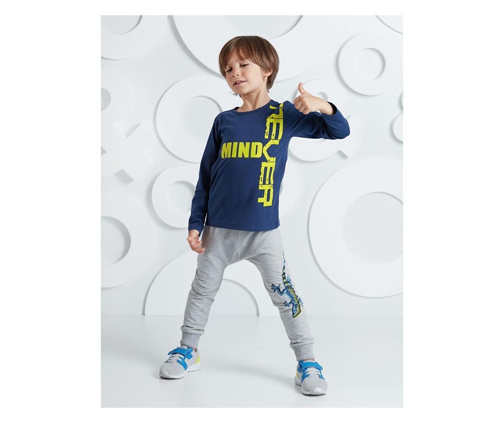 Set bluza si pantaloni Salamander Grey/Navy 7 years - Mushi, Multicolor imagine