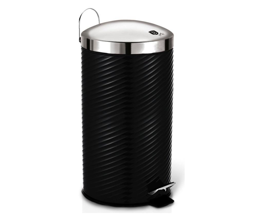 Cos de gunoi cu pedala si capac Black Silver imagine