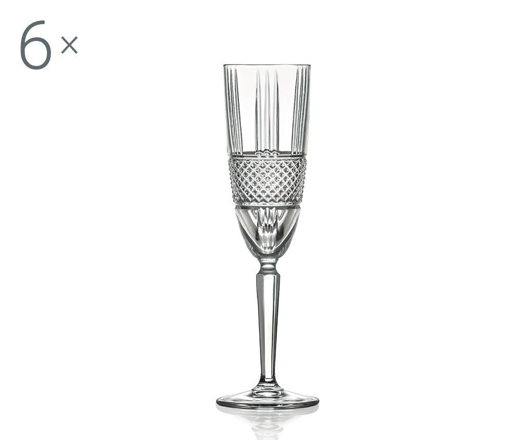Set 6 pahare pentru sampanie Brillante 190 ml imagine