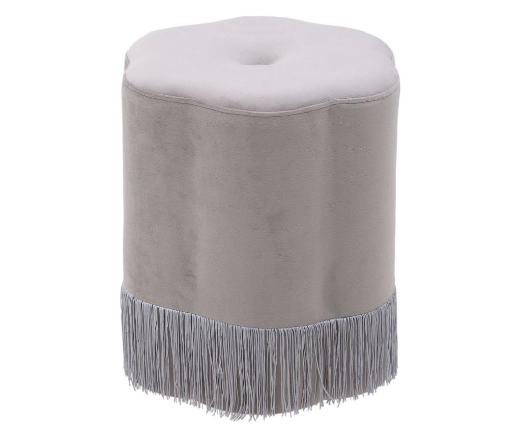 Taburet Velvet Grey - inart, Gri & Argintiu