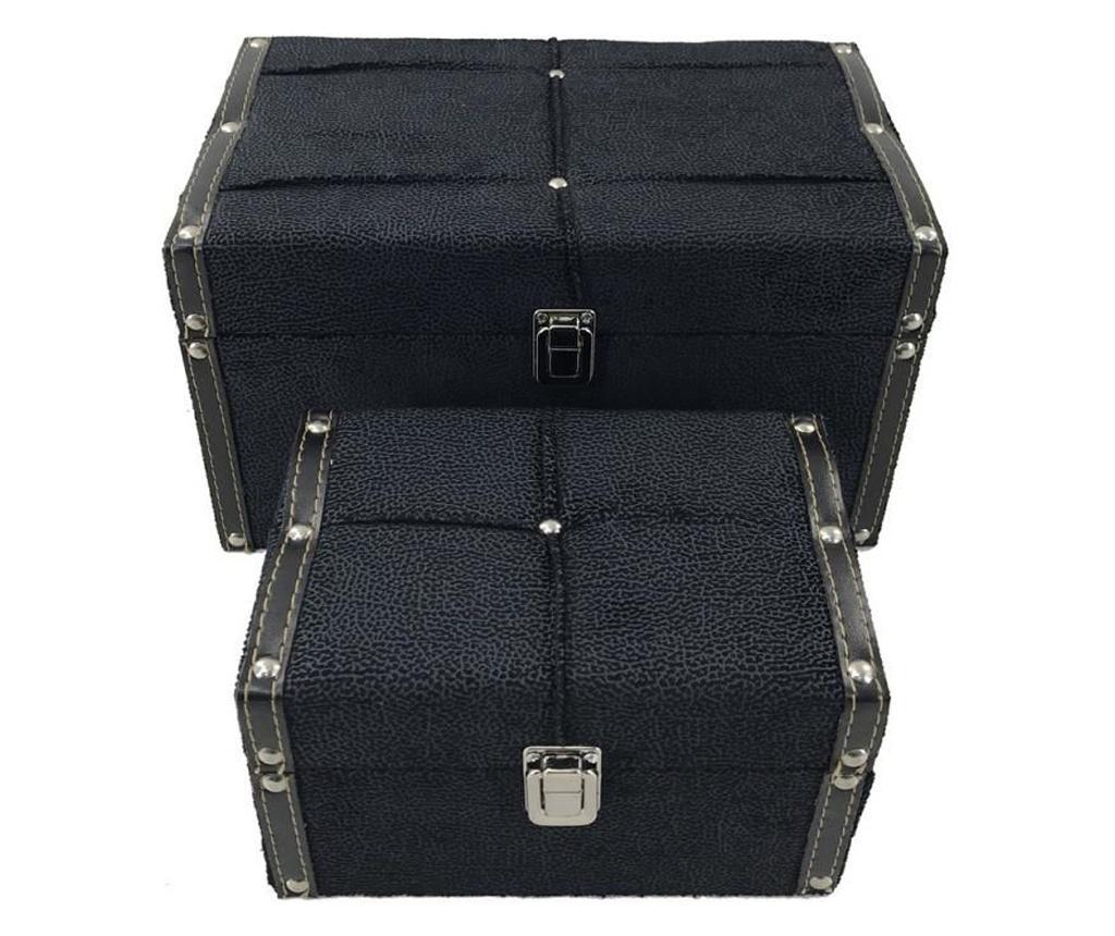 Set 2 cutii decorative - Fedor, Negru imagine