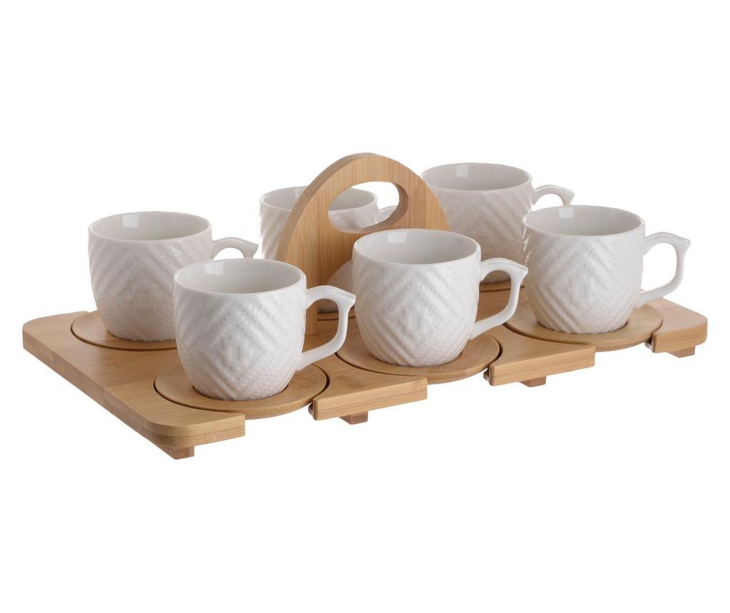 Set 6 cesti de cafea si tava - Click, Crem poza