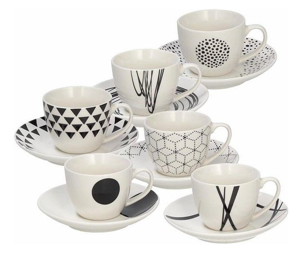 Set 6 cesti si 6 farfurioare pentru cafea Metropolis Graphic 80 ml imagine