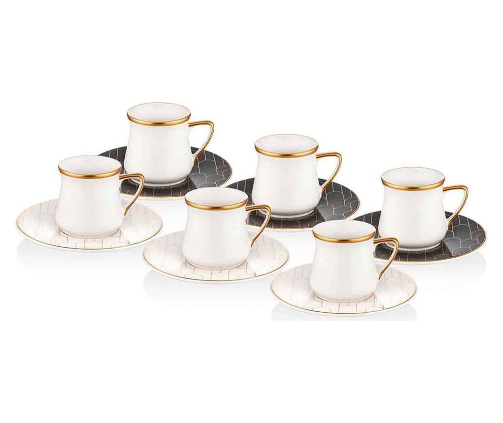 Set 6 cesti si 6 farfurioare pentru cafea - Mia, Negru imagine