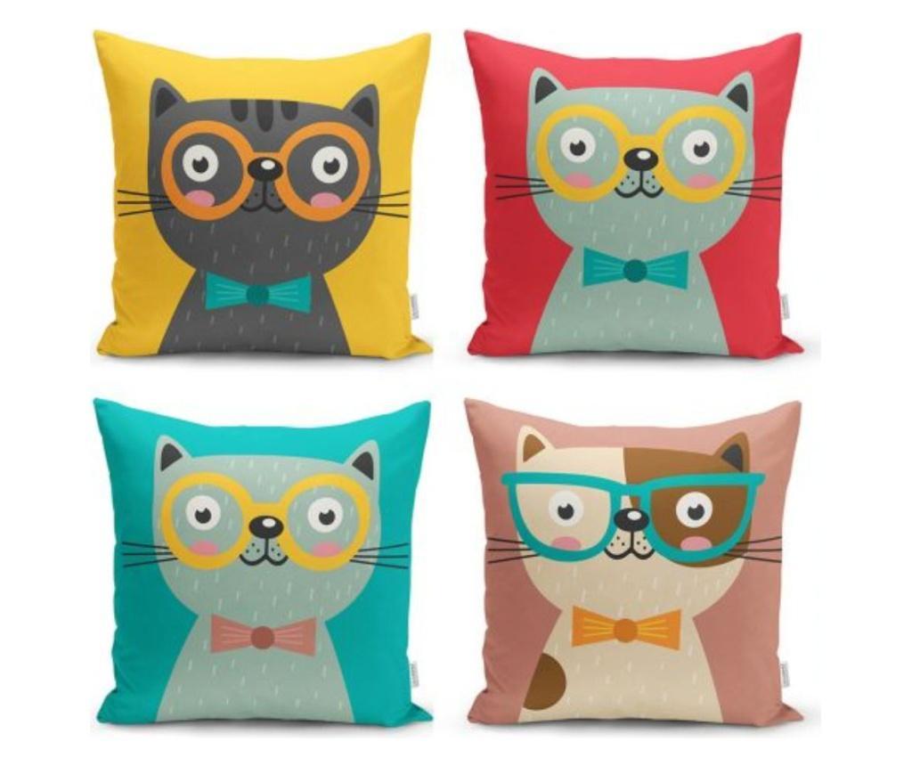 Set 4 fete de perna Minimalist Cushion Covers We Love Cats - Minimalist Home World, Multicolor de la Minimalist Home World