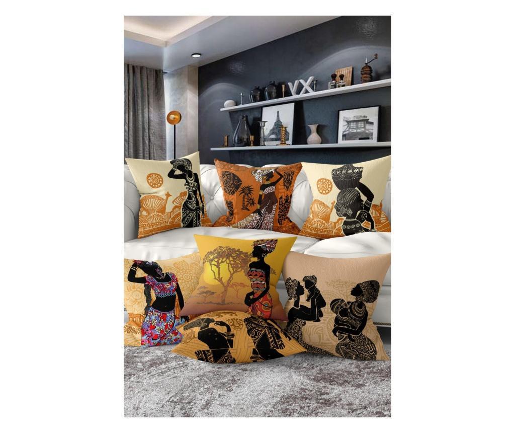 Set 7 fete de perna African Woman Ethnic - Minimalist Cushion Covers, Multicolor imagine