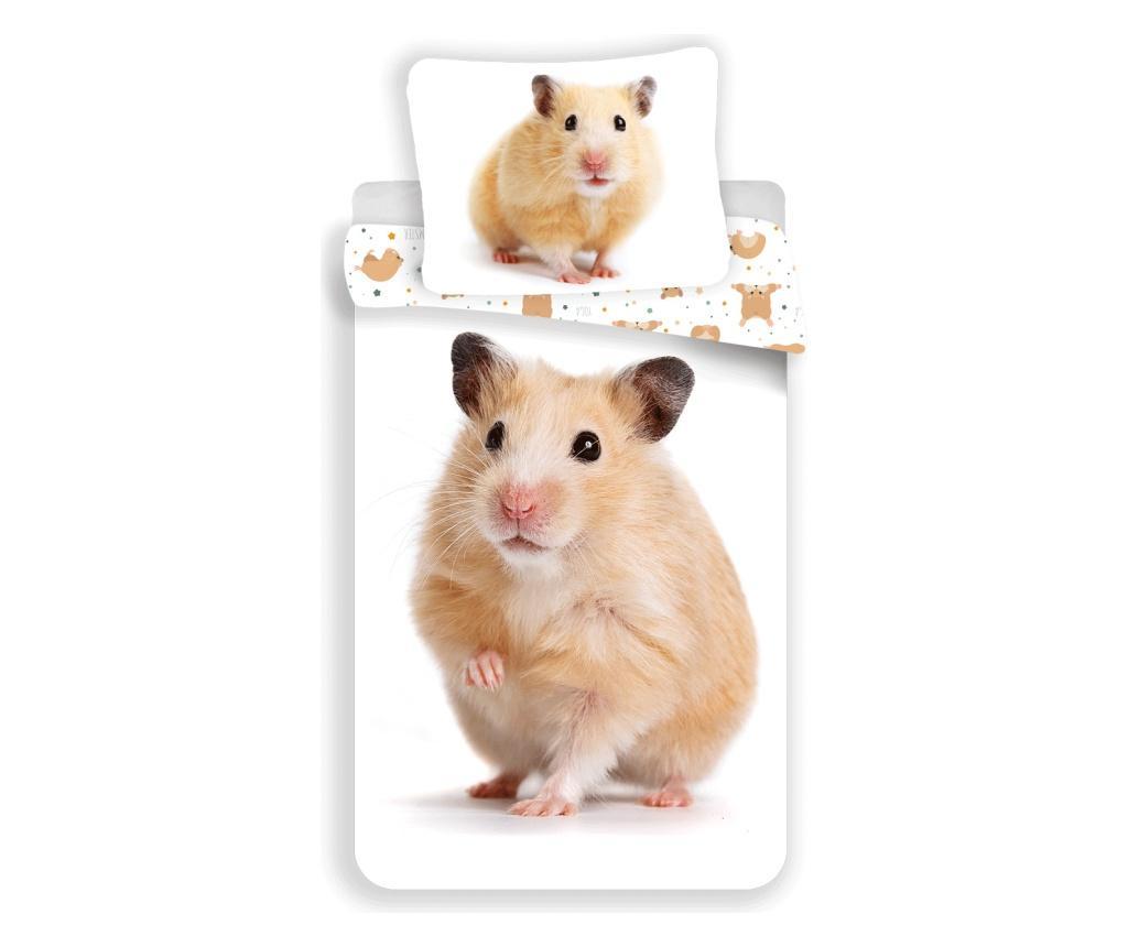 Set de pat Single Ranforce Hamster Sweet home, bumbac ranforce, multicolor - Sweet home, Multicolor imagine