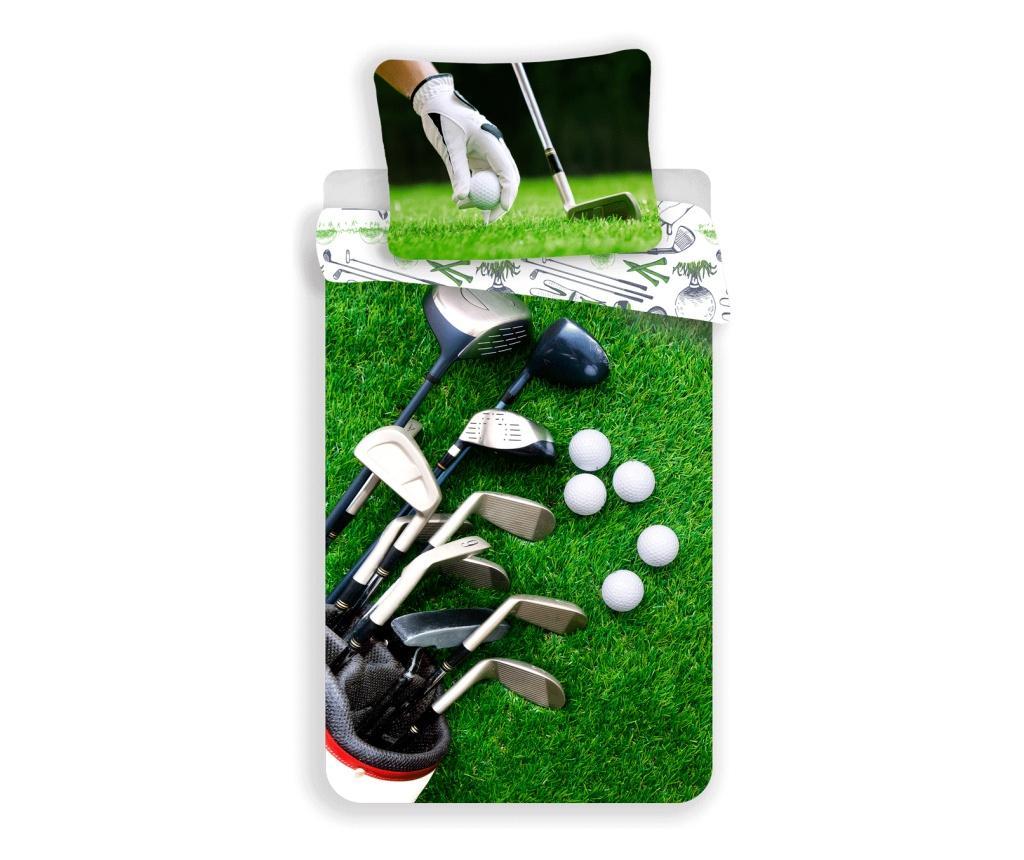 Set de pat Single Ranforce Golf Sweet home, bumbac ranforce, multicolor - Sweet home, Multicolor imagine