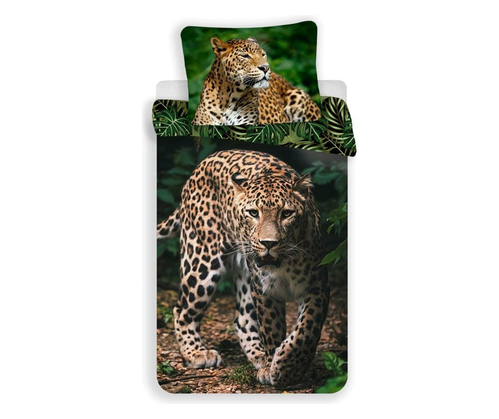 Set de pat Single Ranforce Leopard Green Sweet home, bumbac ranforce, multicolor - Sweet home, Multicolor imagine
