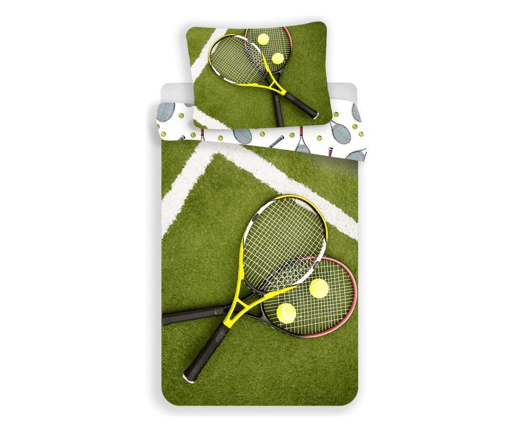 Set de pat Single Ranforce Tennis Sweet home, bumbac ranforce, multicolor - Sweet home, Multicolor imagine