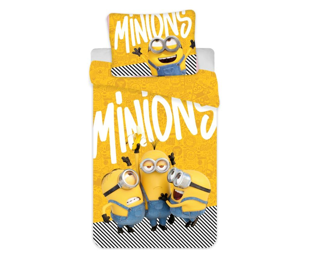 Set de pat Single Ranforce Minions 2 Yellow, bumbac ranforce, multicolor - Minions, Multicolor imagine