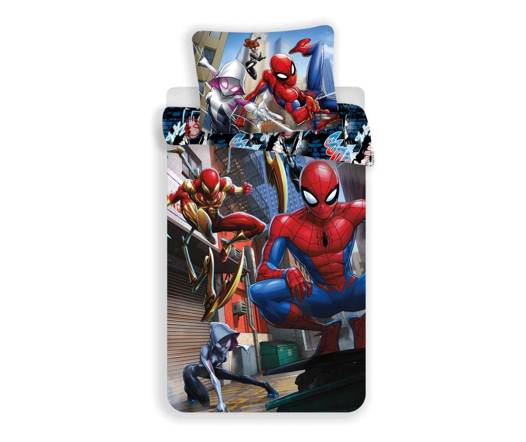 Set de pat Single Ranforce Spider Man Action Marvel Spiderman, bumbac ranforce, multicolor - Marvel Spiderman, Multicolor imagine