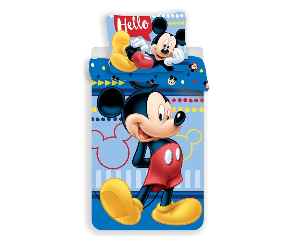 Set de pat Single Ranforce Mickey Hello Disney Mickey, bumbac ranforce, multicolor - Disney Mickey, Multicolor imagine
